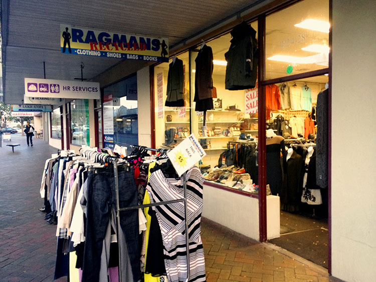 Ragmans Recycled clothing store in Oakleigh.