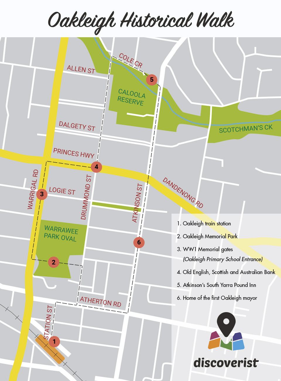 Oakleigh Historical Walk map - By Discoverist